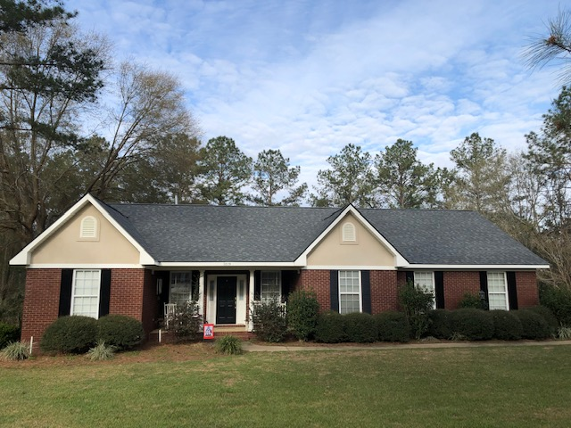 Recent home remodeling work completed in Bainbridge, GA after Hurricane Michael ripped through the state. Single family one-story, brick home roof repair.