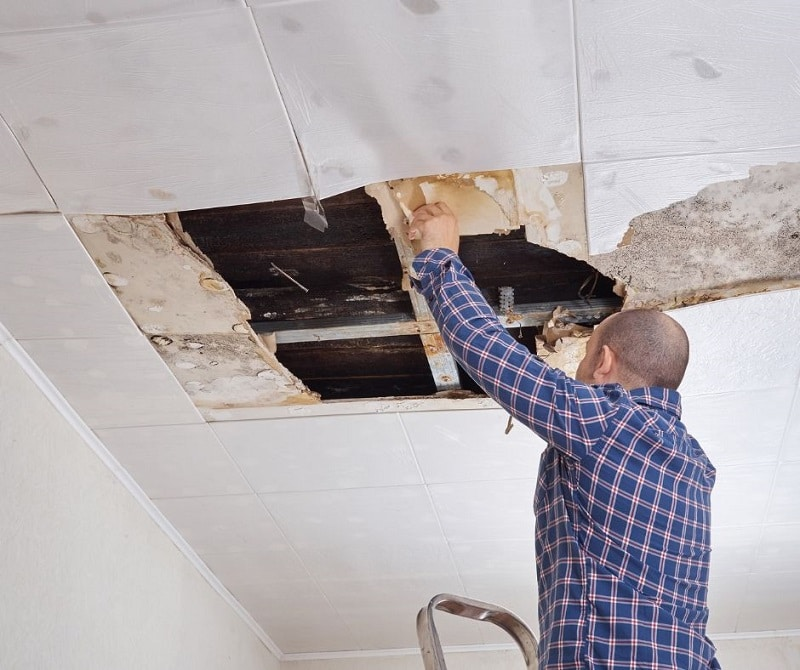 Signs your roof needs ventilation image shows of a room with water damage. There's a hole from some of the ceiling being removed and you can see the attic. A man on a ladder is inspecting the damage.
