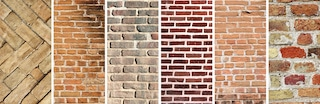 comparing various samples of brick types of siding