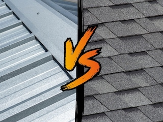 comparison image of metal roofing vs shingles