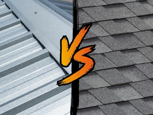 metal roofing vs shingles with vs graphic