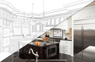 half drawing half pictures from kitchen remodelers