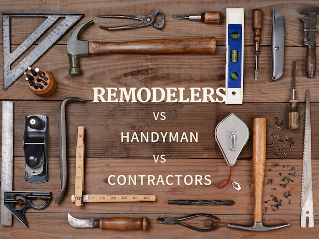 infographic shows remodelers vs handyman vs contractors