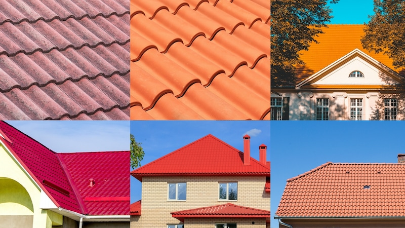 red roofing can look different on various houses and times of day