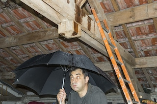 roof damage from hail causes leaks in attic